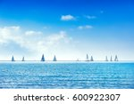 sailing boat yacht or sailboat... | Shutterstock . vector #600922307