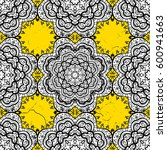 ornamental on yellow background.... | Shutterstock .eps vector #600941663