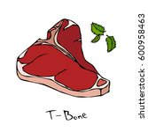 t bone steak cut vector... | Shutterstock .eps vector #600958463