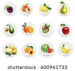fruits icons collection  | Shutterstock . vector #600961733