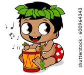 hawaiian baby boy playing music ... | Shutterstock . vector #600964343