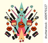 make up beauty products....   Shutterstock .eps vector #600970127