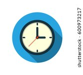 flat clock icon circle logo...