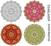 vector set mandala different... | Shutterstock .eps vector #600978953