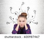portrait of a stressed teen... | Shutterstock . vector #600987467