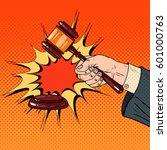 pop art judge hand hitting... | Shutterstock .eps vector #601000763