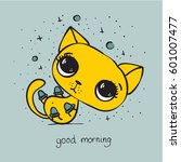 vector card with cute cat and... | Shutterstock .eps vector #601007477