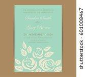 wedding invitation with vintage ... | Shutterstock .eps vector #601008467