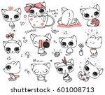 set of vector cute cats in... | Shutterstock .eps vector #601008713