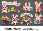 set of happy easter. easter... | Shutterstock .eps vector #601009817