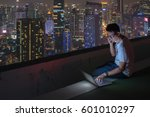male using computer laptop on... | Shutterstock . vector #601010297