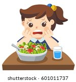 unhappy girl doesn't want eat... | Shutterstock .eps vector #601011737