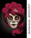 sugar skull lady | Shutterstock .eps vector #601011917