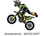 motocross rider doing stunt | Shutterstock .eps vector #601011947