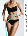 slim girl in black lingerie... | Shutterstock . vector #601020293