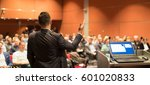 speaker giving a talk on... | Shutterstock . vector #601020833