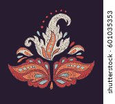 vintage ethno embroidery.... | Shutterstock .eps vector #601035353