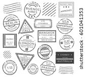 monochrome retro postage stamps ...