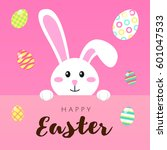 greeting card with white easter ... | Shutterstock .eps vector #601047533