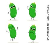 cucumber. cute vegetable vector ... | Shutterstock .eps vector #601049183
