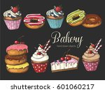 set of sweet bakery on black.... | Shutterstock .eps vector #601060217