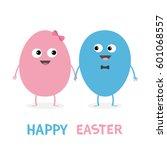 happy easter painting egg... | Shutterstock .eps vector #601068557