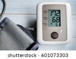 blood pressure gauge show ... | Shutterstock . vector #601073303
