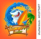 funny surfing shark | Shutterstock .eps vector #601075697