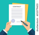 contract signing. a male left... | Shutterstock .eps vector #601079603