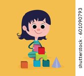 little girl play with... | Shutterstock .eps vector #601090793