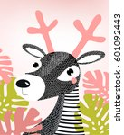 cartoon deer. picture of a deer.... | Shutterstock .eps vector #601092443