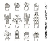 Cactus And Succulents Vector...