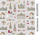 doodle vector germany berlin... | Shutterstock .eps vector #601100993