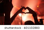 fans making heart with hands at ... | Shutterstock . vector #601102883