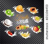 fruits and milk vectors set.... | Shutterstock .eps vector #601106453