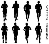 set of silhouettes runners on... | Shutterstock .eps vector #601111697