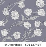 Tulips  Floral Seamless Vector...
