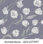 tulips  floral seamless vector...   Shutterstock .eps vector #601137497