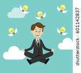 businessman doing yoga in lotus ... | Shutterstock .eps vector #601142837