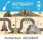 norway travel background...   Shutterstock .eps vector #601168637