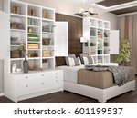 light and cozy modern bedroom... | Shutterstock . vector #601199537