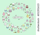 hand drawn doodle easter icons... | Shutterstock .eps vector #601201613