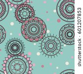 seamless round ornament pattern.... | Shutterstock .eps vector #601207853