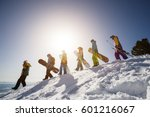 group of people snowboarders... | Shutterstock . vector #601216067