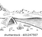 camping graphic black white... | Shutterstock .eps vector #601247507