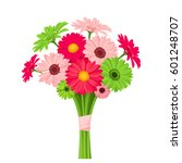 Stock vector vector bouquet of pink and green gerbera flowers isolated on a white background 601248707