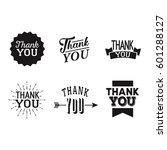 thank you set of black badges...   Shutterstock .eps vector #601288127
