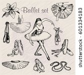 vector set ballet dancer with... | Shutterstock .eps vector #601334183
