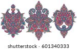 vector set of henna floral... | Shutterstock .eps vector #601340333