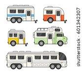 camping trailer set on white...   Shutterstock . vector #601342307